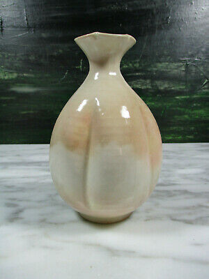 Antique Japanese Studio Art Pottery Lobed Shino Vase Signed Chop Marked