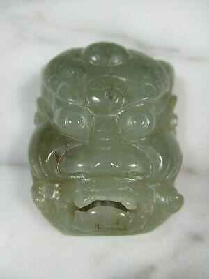 Antique Chinese Carved Celadon Green Nephrite Jade Foo Dog Or God 3Rd Eye Buckle