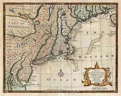 Historic Map of New England 1747 Vintage Style Colonial Map - 20x24
