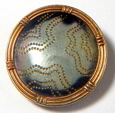 ANTIQUE GILT BRASS RIM FRENCH BUTTON w/SHIMMERING CELLULOID CENTER w/GOLD DOTS