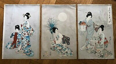 Antique Japanese Chikanobu (1838-1912) Triptych Original Woodblock Print