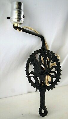 Vintage Collectible Black Cast Iron Roster Wall Mount Lamp Light