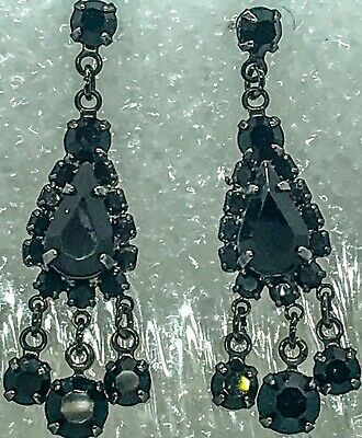 Art Deco Faceted Prong Black Rhinestone Earrings Drop Dangly Multi Shaped 1.5""