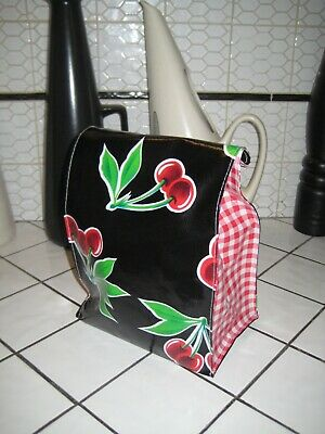 Black Cherry Vtg Style Kitchen Oilcloth LUNCH BAG Tote Lunch Food Storage