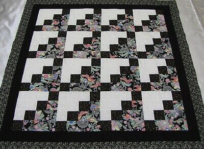"Log Cabin Staircase Large Quilt Top~PIECED~""Many Colors 1"" Baby,Wall,Lap  50"" Sq"