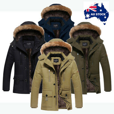Mens Winter Outdoor Coat Detachable Hood Fleece Lined Casual Jacket Sz S M L XL