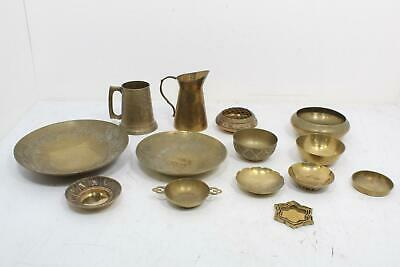 Lot Of 14 Vintage Brass Mug Small Pitcher Bowls Dishes