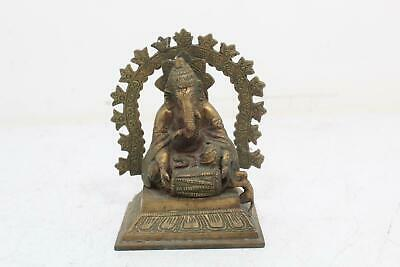 Vintage Brass Sculpture Hindu God Ganesh Sitting On Thrown