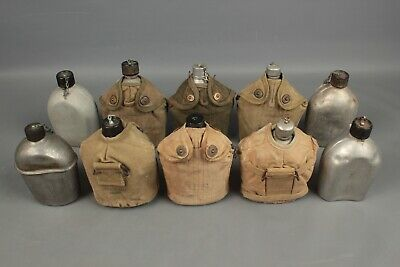 Vtg. Lot of 10 WW2  U.S. Army Canteens and Covers 1943 and 1945 #1134 WWll