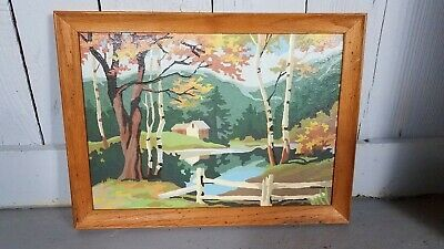 """VTG PAINT BY NUMBER Autumn fall COUNTRY SCENE WOOD FRAMED 14"""" X 10"""""""