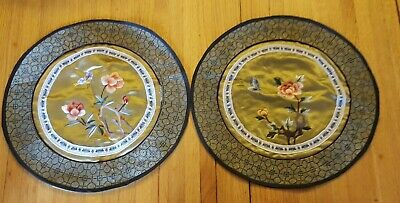 """Two Beautiful Vintage Round Chinese Silk Embroidered/Needlework Table Mats 11"""""""