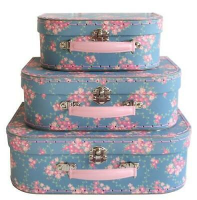 NEW Decor Suitcase Set of 3 – Wildflower - Blue Floral - Toy Storage Carry Case