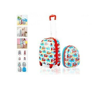 """Colorful 2 Pc Kids Luggage Set Lightweight 16"""" Rolling Suitcase & 12"""" Backpack"""