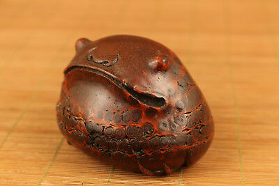 Antique chinese bamboo-root carving frog fortune statue netsuke collect gift