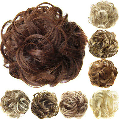 Real Natural Curly Messy Bun Hair Piece Scrunchie New Fake Hair Extensions Top
