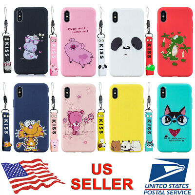 For iPhone XS Max XR X 8 7 6s Plus 3D Cute Cartoon Silicone Pendant Case Cover