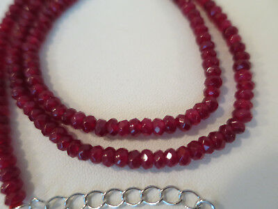 NATURAL RED RUBY Faceted ROUNDEL Gemstone NECKLACE, 2x4mm