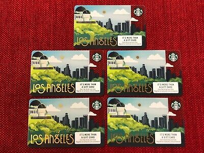 5 New Starbucks 2019 Los Angeles City Gift Cards Lot