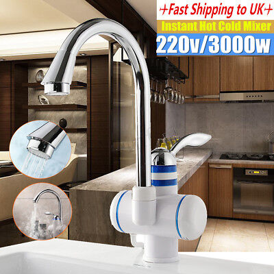 220V LED Electric Fast Instant Faucet Tap Hot Water Heater Bathroom Kitchen