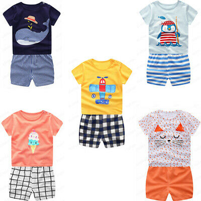 Toddler Infant Baby Boys Girls Cartoon Whale Tops Shirt+Pants Outfits Set