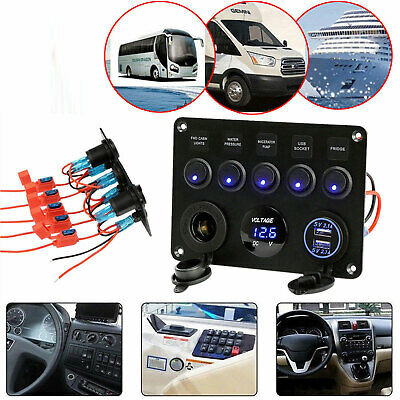Car Boat 5 Gang ON-OFF Toggle Switch Panel 2 USB 12 V Fit Marine RV Truck Camper