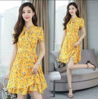 Hot Sweet Floral Chiffon Dress 2019 Summer New Womens Korean Slim A-line Skirt j