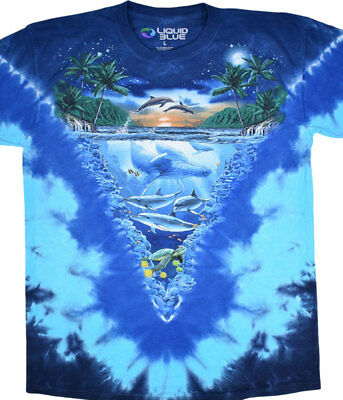 AQUATIC-NIGHT TIME DIVE-2 Side TIE DYE TSHIRT S-M-L-XL-XXL,3X-4X-5X-6X Dolphins