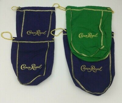 Crown Royal Whiskey Small Medium Bags Lot of 4 Green Purple