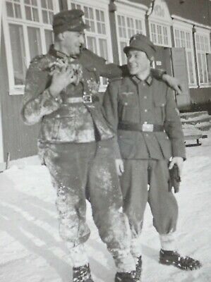 Original ww2 German photograph of 2 soldiers in the snow one is very young
