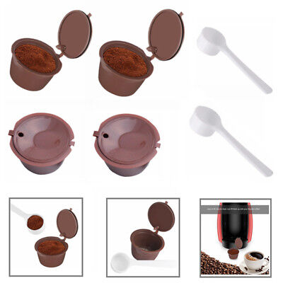 2/4pcs Dolce Gusto Refillable Reusable Coffee Capsule Pods Cup With Coffee Spoon