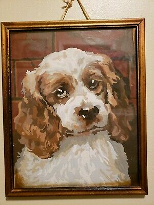 Vintage Paint by Number Cocker Spaniel Dog Animal Portrait Painting Mid Century