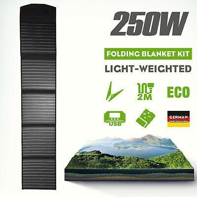 12V 250W Folding Solar Mat Black Silicon Blanket Solar Panel Kit Camping Charger