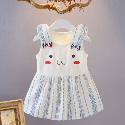 Toddler Girls Baby Kids Striped Cartoon Printed Princess Dress Outfits Clothes