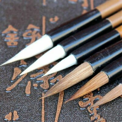 6Pcs Traditional Chinese White Clouds Bamboo Wolf's Hair Writing Brush Durable