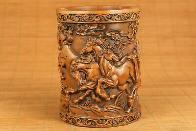 antique chinese old boxwood hand carving horse statue figure brush pot home deco