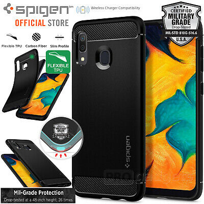 Galaxy A30 Case, Genuine SPIGEN Rugged Armor Resilient Soft Cover for Samsung