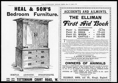 1899 Antique Print - ADVERTISING Ellimans First Aid Book Heal & Sons (103)