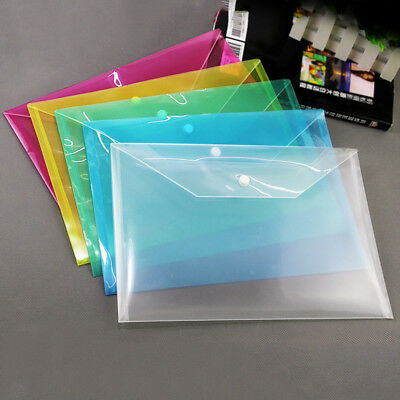 A4 Plastic Clear File Folder Button Bag Document Holder Storage Pouch Supply