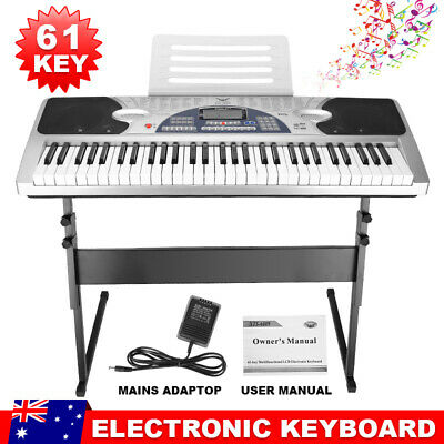 61 Keys Electronic keyboard LCD Electric Music Piano with Stand Power Adaptor