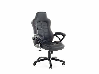 Gaming Desk Office Chair Ergonomic Design Black and Brown Synthetic Leather Adju