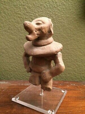 "Attractive Pre-columbian Clay Figurine ""Shaman with Jaguar Mask"",  Maya,~3-5 AD"