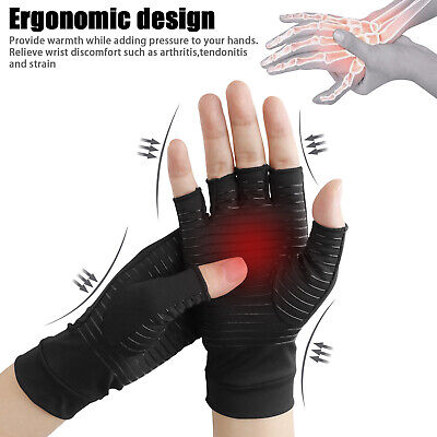 Copper Arthritis Compression Gloves Fit Carpal Tunnel Hand Wrist Brace Support