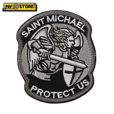 Patch Ricamata Saint Michael Protect US 8,5 x 7 cm Militare Velcrata Grey-Black