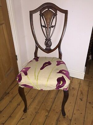 Set of 4x antique Georgian dining chairs with upholstered Seats.