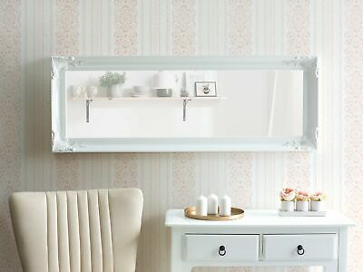 Wall Mirror Carved Frame Glam Chic Vintage White Cassis