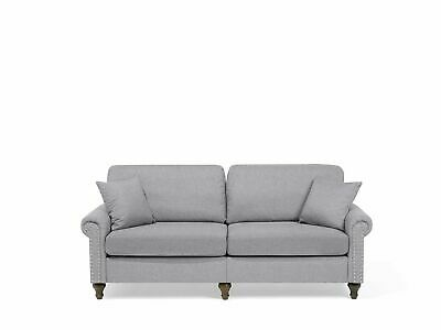 Modern Fabric 3 Seater Sofa Light Grey Polyester Solid Wood Throw Pillows Otra