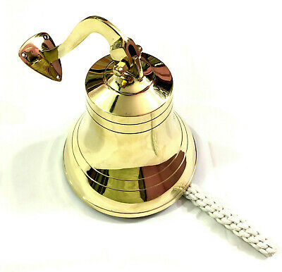 "7"" Nautical Brass Ship Bell Wall Mounted Bracket Decorative Home Door Bell Gift"