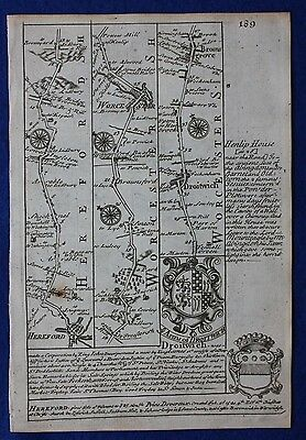 Original antique road map HEREFORD, WORCESTER, DROITWICH, Emanuel Bowen, 1724