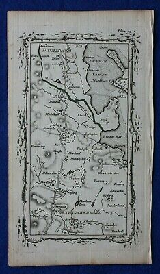 Rare antique road map NORTHUMBERLAND, BELFORD, DURHAM, Mostyn Armstrong, 1776