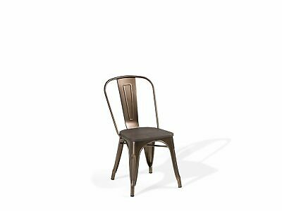 Metal Dining Chair Brass and Dark Wood APOLLO